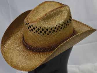 f55aa2ea8f1c7 Vented Raffia with Twisted Suede Hatband   Matching Stampede String.  Comfort Sweat Liner.